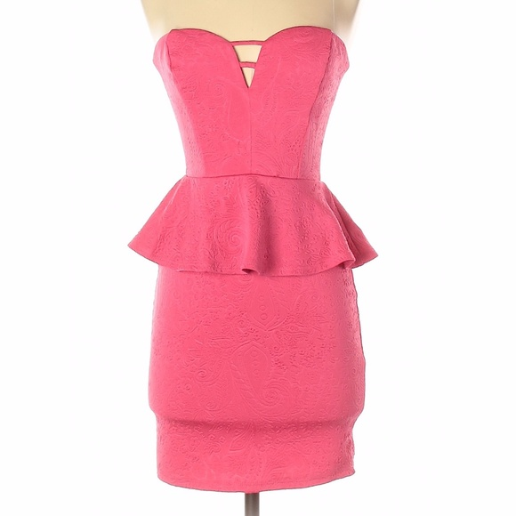 Small Pink Peplum Strapless Cocktail Dress